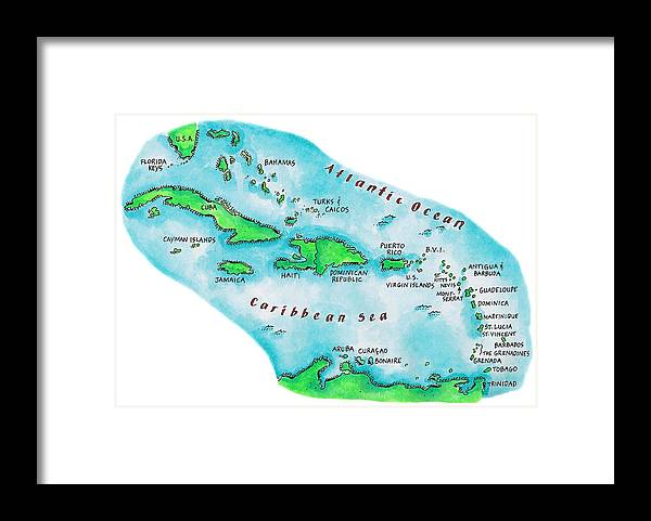 Watercolor Painting Framed Print featuring the digital art Map Of Caribbean Islands by Jennifer Thermes