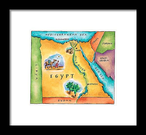 Watercolor Painting Framed Print featuring the digital art Map Of Egypt by Jennifer Thermes