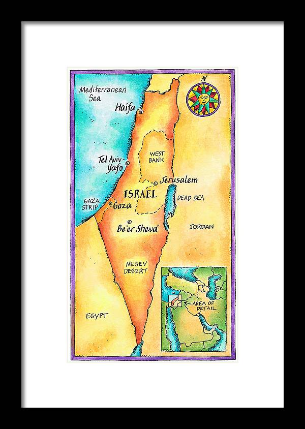 Watercolor Painting Framed Print featuring the digital art Map Of Israel by Jennifer Thermes