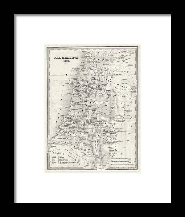 Etching Framed Print featuring the digital art Map Of Palestine, Steel Engraving by Zu 09