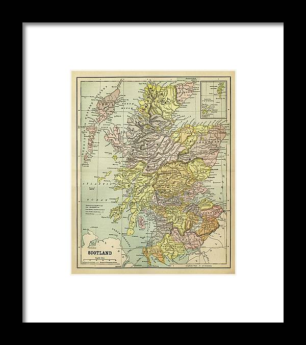 Vertical Framed Print featuring the digital art Map Of Scotland 1883 by Thepalmer