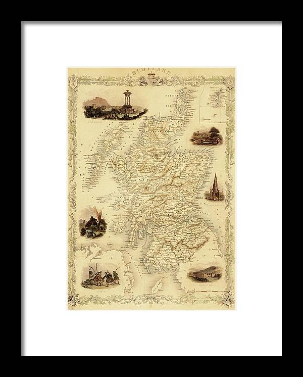 Journey Framed Print featuring the digital art Map Of Scotland From 1851 by Nicoolay