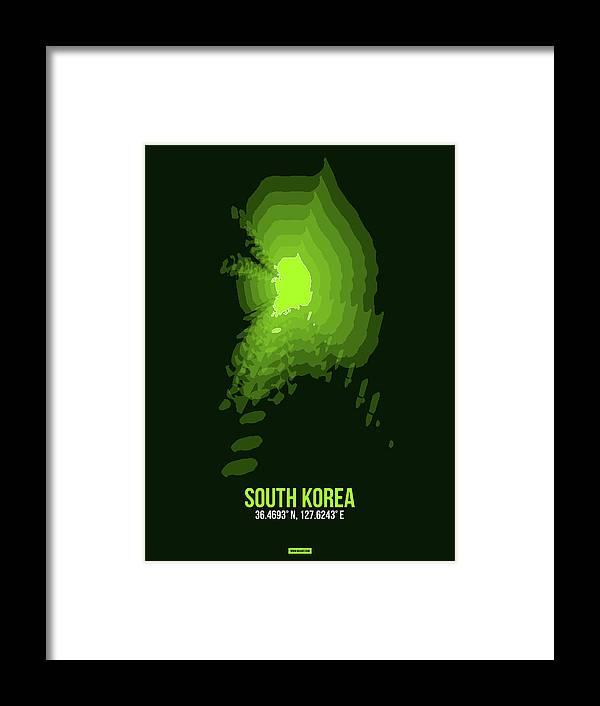 Map Of South Korea Framed Print featuring the digital art Map Of South Korea 3 by Naxart Studio