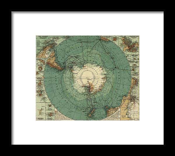 Map Of The South Pole Framed Print featuring the painting Map Of The South Pole, 1912 by August Heinrich Petermann