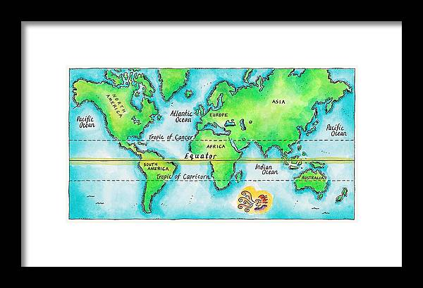 Watercolor Painting Framed Print featuring the digital art Map Of The World & Equator by Jennifer Thermes
