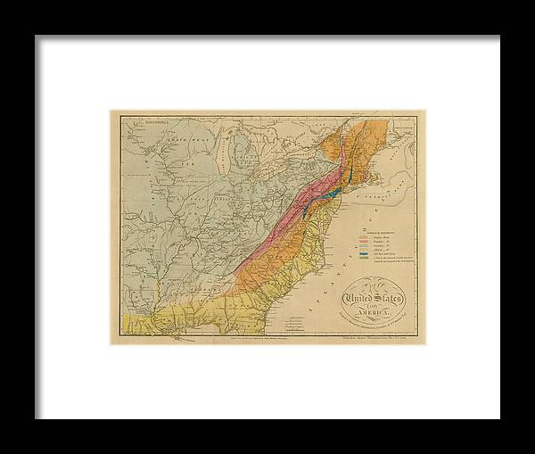 Color Image Framed Print featuring the digital art Map Of United States 1818c by Historic Map Works Llc