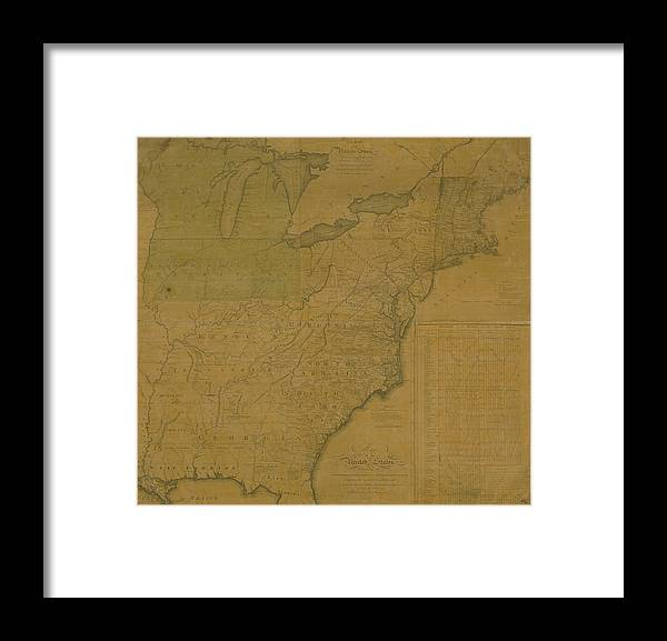Color Image Framed Print featuring the digital art Map Of United States From 1796 by Historic Map Works Llc