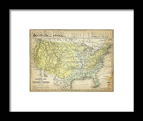 Burnt Framed Print featuring the digital art Map Of Usa 1867 by Thepalmer