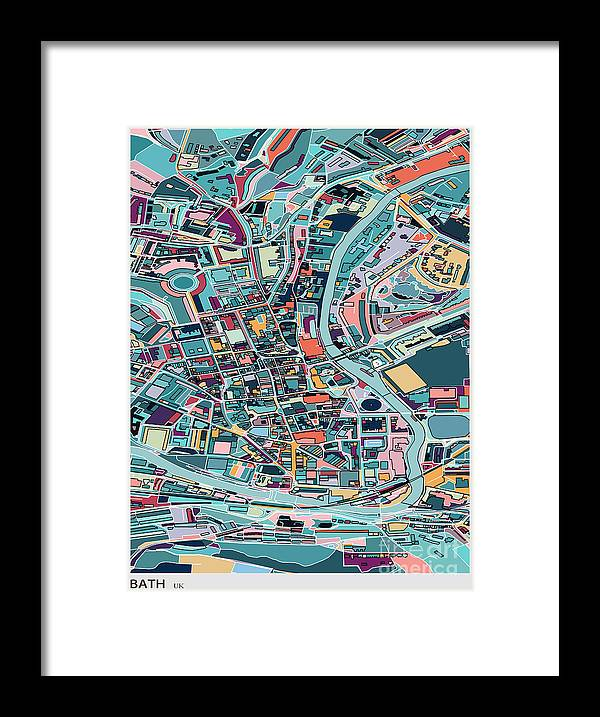 Rectangle Framed Print featuring the digital art Map Style Art Background,bath City by Shuoshu