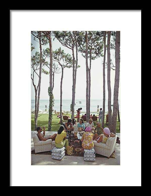 People Framed Print featuring the photograph Marbella House Party by Slim Aarons