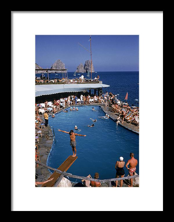 Diving Into Water Framed Print featuring the photograph Marina Piccola by Slim Aarons
