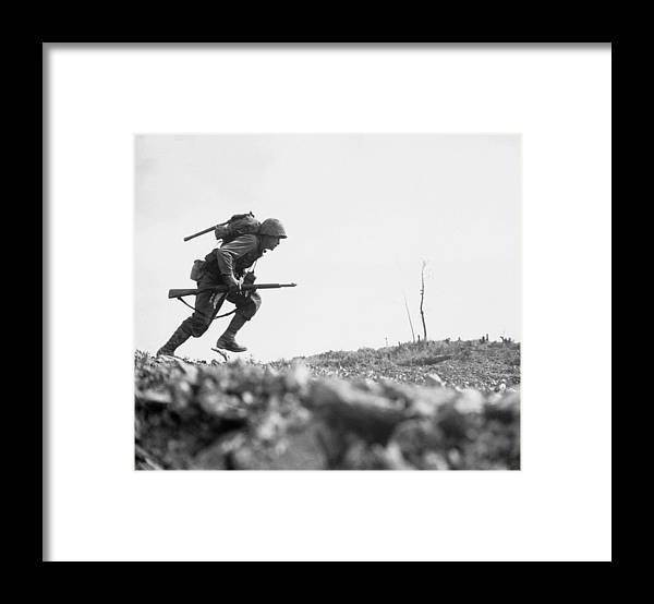 Marine Framed Print featuring the photograph Marine Dash On Okinawa by War Is Hell Store
