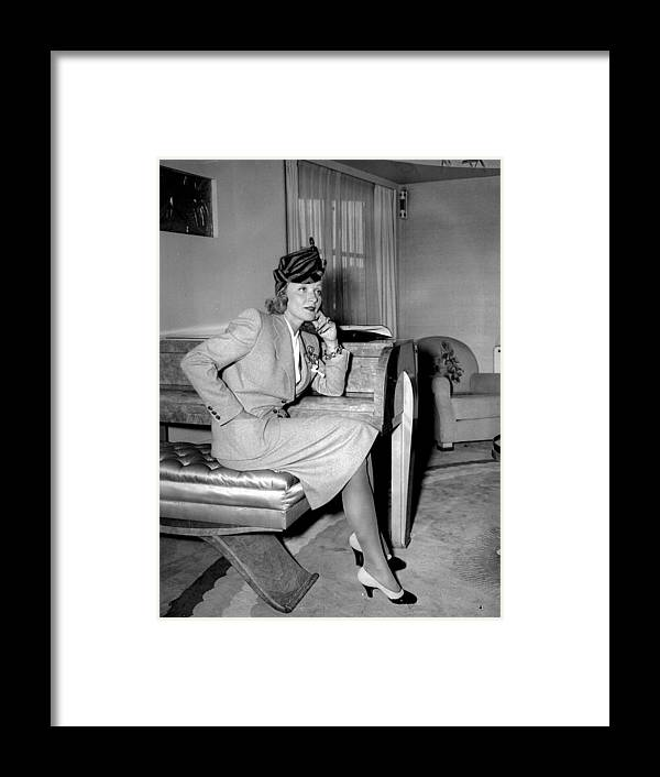 People Framed Print featuring the photograph Marlene Dietrich Arriving In New York by New York Daily News Archive