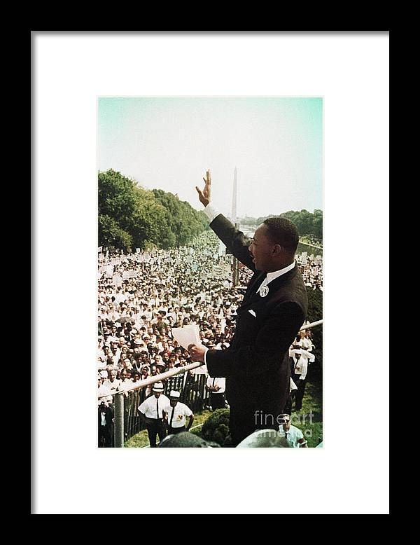 People Framed Print featuring the photograph Martin Luther King During The March by Bettmann