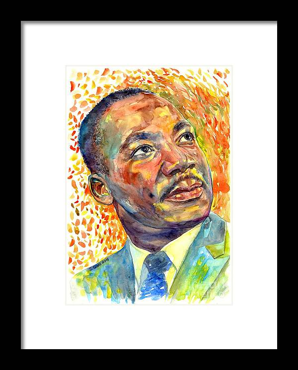 Martin Luther King Jr Framed Print featuring the painting Martin Luther King Jr portrait by Suzann Sines