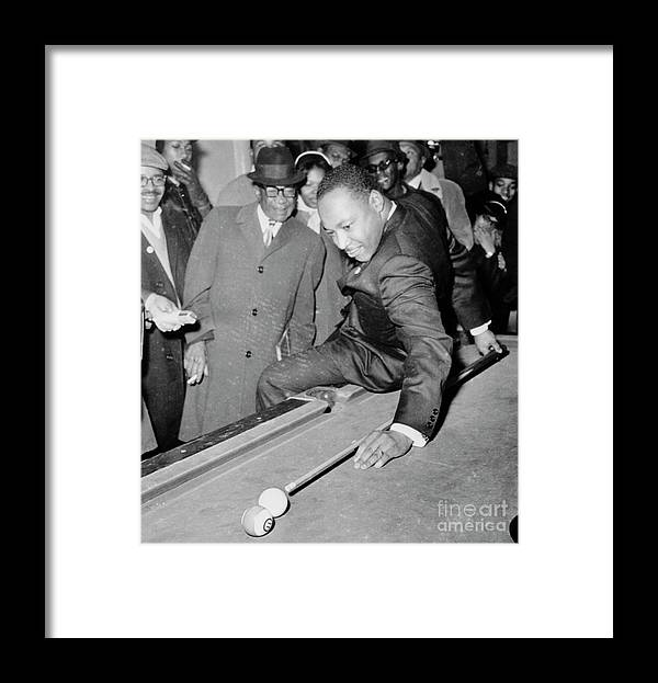People Framed Print featuring the photograph Martin Luther King Playing Pool by Bettmann