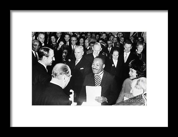 Mid Adult Women Framed Print featuring the photograph Martin Luther King Receiving Nobel Prize by Bettmann