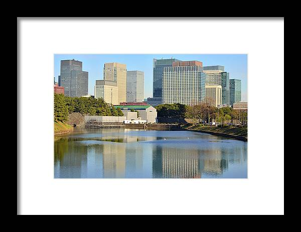 Built Structure Framed Print featuring the photograph Marunouchi Buildings Reflected by Electravk