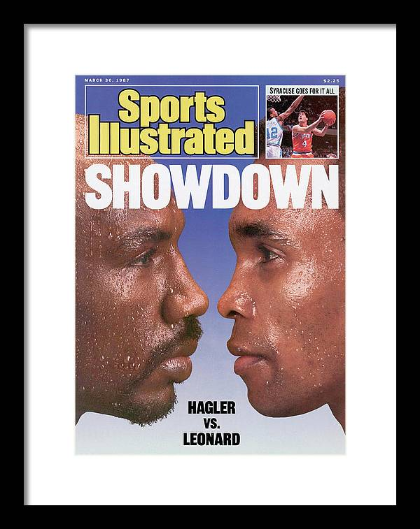 Magazine Cover Framed Print featuring the photograph Marvelous Marvin Hagler And Sugar Ray Leonard, 1987 Wbc Sports Illustrated Cover by Sports Illustrated