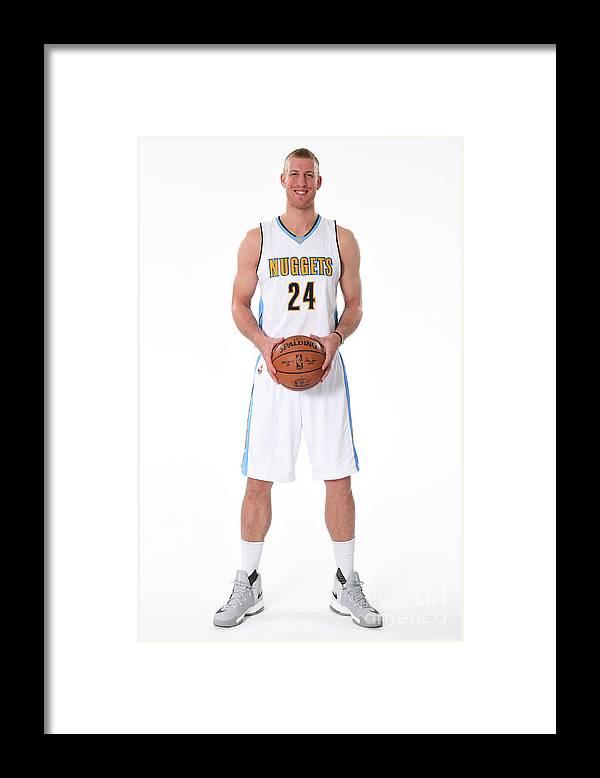 Nba Pro Basketball Framed Print featuring the photograph Mason Plumlee Denver Nuggets Media Day by Garrett Ellwood