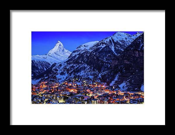 Clear Sky Framed Print featuring the photograph Matterhorn At Night by Weerakarn Satitniramai