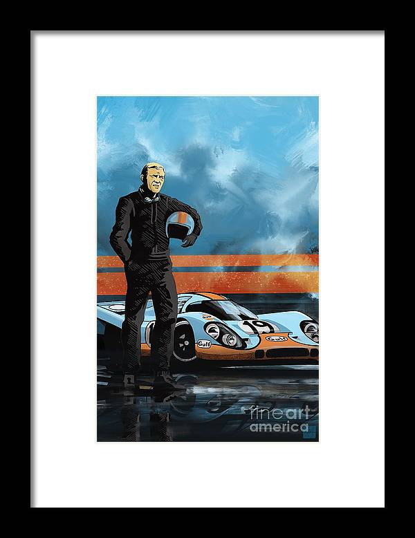 Porsche 917 Framed Print featuring the painting Mc Queen 917 by Sassan Filsoof