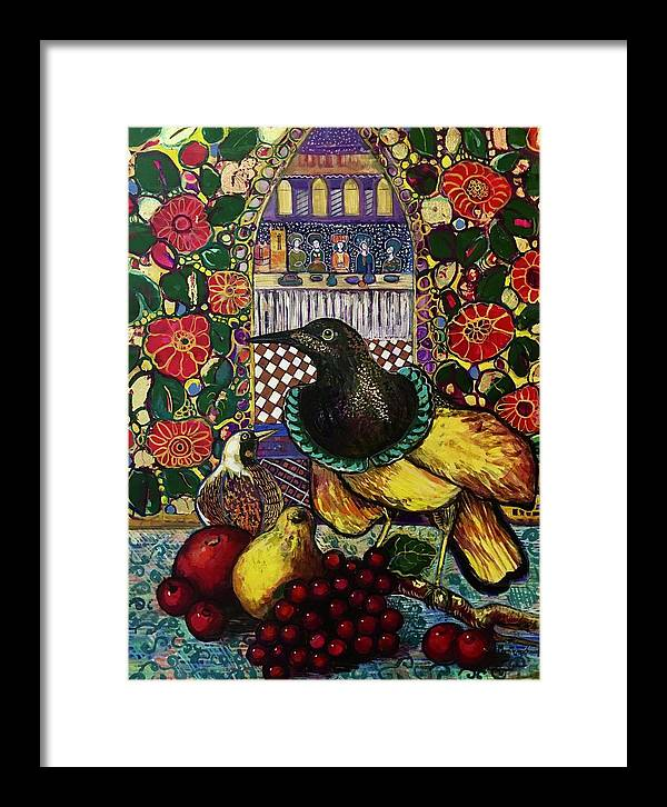 Crow Framed Print featuring the painting Medieval dinner by Marilene Sawaf
