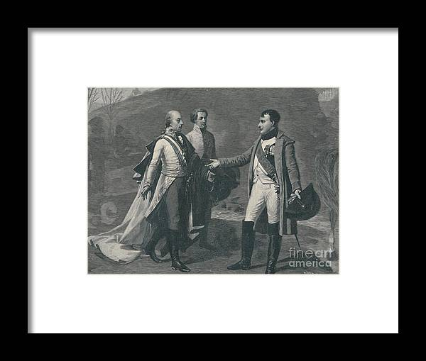 Engraving Framed Print featuring the drawing Meeting Of Napoleon And Francis by Print Collector