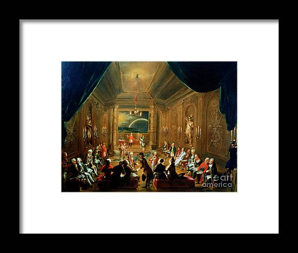 People Framed Print featuring the drawing Meeting Of The Masonic Lodge, Vienna by Print Collector