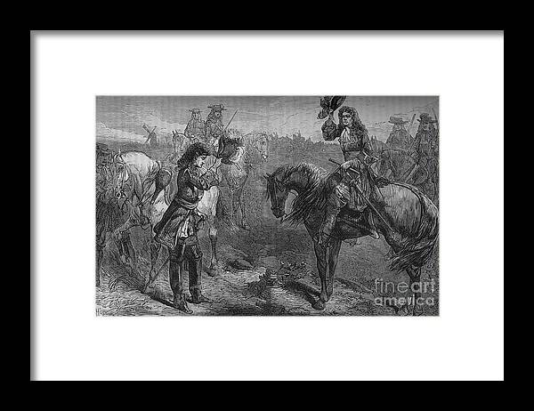 Horse Framed Print featuring the drawing Meeting Of William IIi And The Duke by Print Collector