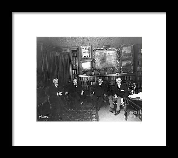 Versailles Framed Print featuring the photograph Members Of Versailles Conference by Bettmann