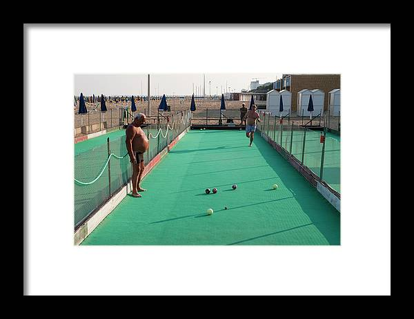 Mature Adult Framed Print featuring the photograph Men Play Boccia At Beach by Holger Leue