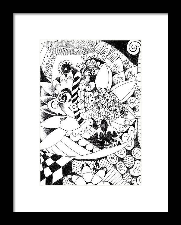 Metamorphosis By Helena Tiainen Framed Print featuring the drawing Metamorphosis by Helena Tiainen
