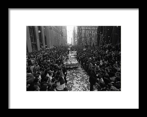 People Framed Print featuring the photograph Mets Ticker Tape Parade by Fred W. McDarrah