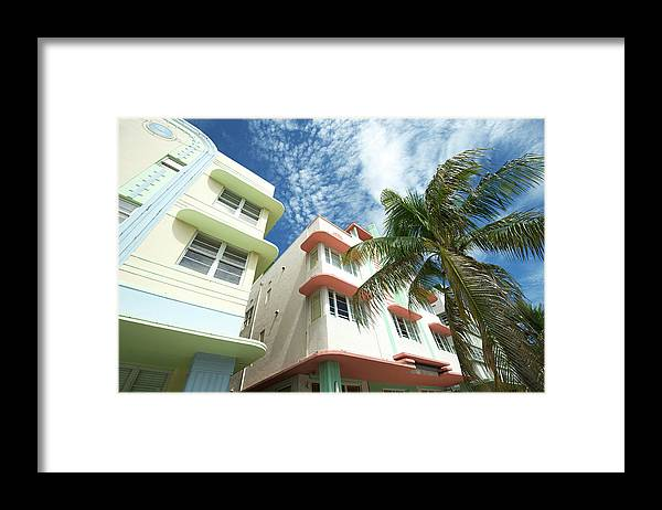 Architectural Feature Framed Print featuring the photograph Miami Art Deco Drive Architecture Blue by Peskymonkey