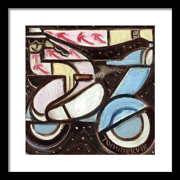 Miami Framed Print featuring the painting Miami Beach Man Riding A vespa in Outer Space Art Print by Tommervik