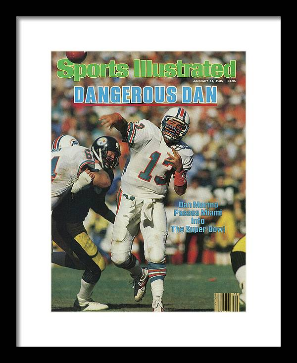 Playoffs Framed Print featuring the photograph Miami Dolphins Qb Dan Marino, 1985 Afc Championship Sports Illustrated Cover by Sports Illustrated