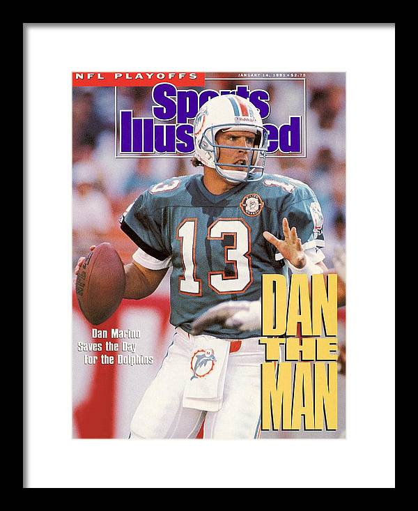 Playoffs Framed Print featuring the photograph Miami Dolphins Qb Dan Marino, 1991 Afc Wild Card Playoffs Sports Illustrated Cover by Sports Illustrated