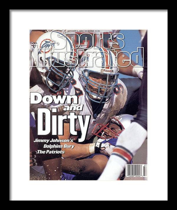 Magazine Cover Framed Print featuring the photograph Miami Dolphins Steve Emtman And Tim Bowens Sports Illustrated Cover by Sports Illustrated
