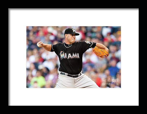Three Quarter Length Framed Print featuring the photograph Miami Marlins V Cleveland Indians by Jason Miller