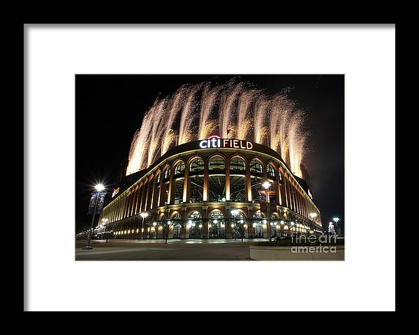 American League Baseball Framed Print featuring the photograph Miami Marlins V New York Mets by Christopher Pasatieri