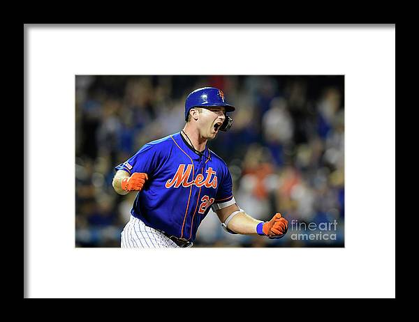 Three Quarter Length Framed Print featuring the photograph Miami Marlins V New York Mets - Game Two by Steven Ryan