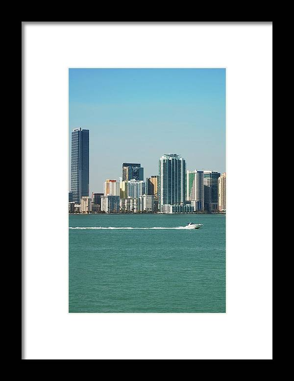 Downtown District Framed Print featuring the photograph Miami Skyline - Verical by Thepalmer