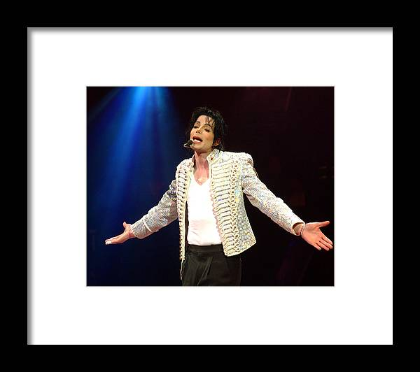 Democracy Framed Print featuring the photograph Michael Jackson Performs Onstage During by New York Daily News Archive