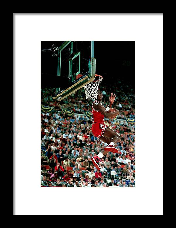 Chicago Bulls Framed Print featuring the photograph Michael Jordan Competes In The Nba All by Andrew D. Bernstein