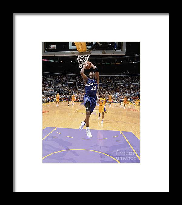 Nba Pro Basketball Framed Print featuring the photograph Michael Jordan Goes Up by Andrew D. Bernstein
