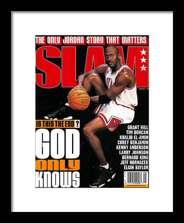 Michael Jordan Framed Print featuring the photograph Michael Jordan: Is this End? God Only Knows SLAM Cover by Getty Images