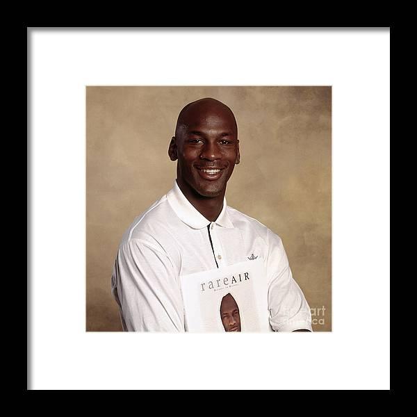 Chicago Bulls Framed Print featuring the photograph Michael Jordan Portrait by Nba Photos