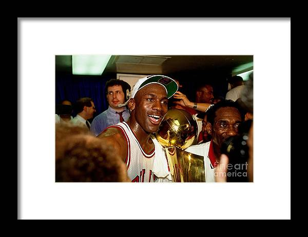Chicago Bulls Framed Print featuring the photograph Michael Jordan Postgame Locker Room by Nathaniel S. Butler