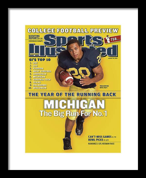 Michigan Framed Print featuring the photograph Michigan Mike Hart, 2007 College Football Preview Sports Illustrated Cover by Sports Illustrated